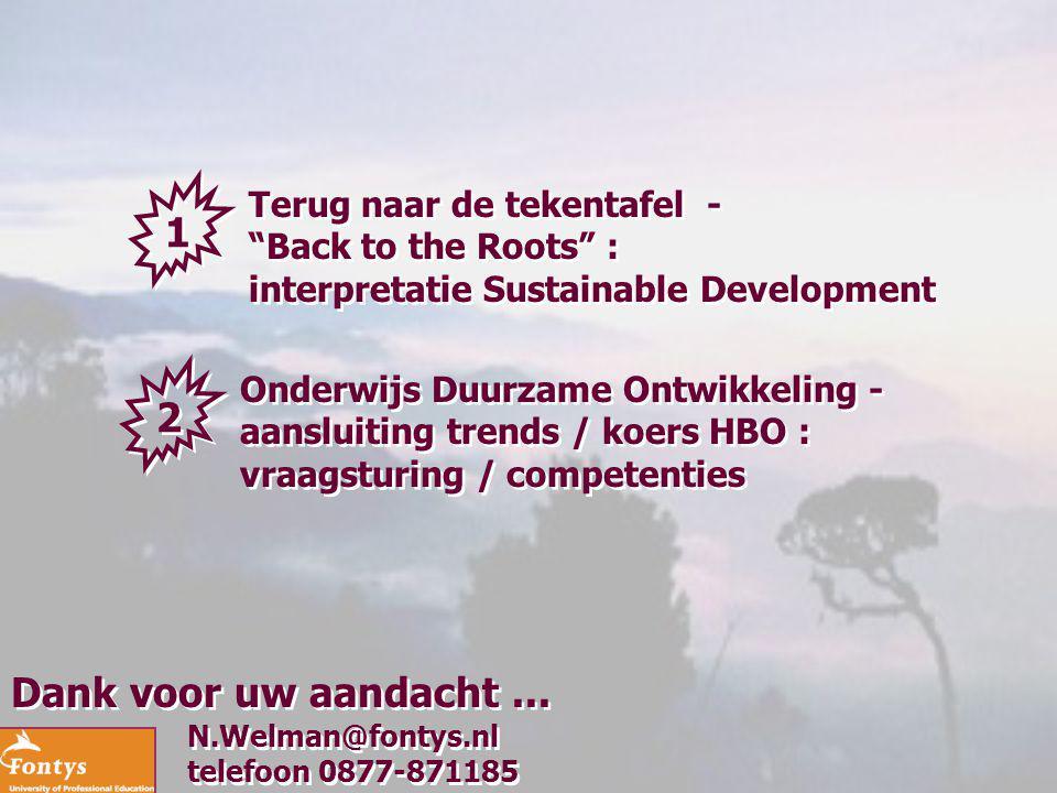 """N.Welman@fontys.nl telefoon 0877-871185 N.Welman@fontys.nl telefoon 0877-871185 Dank voor uw aandacht... 1 1 Terug naar de tekentafel - """"Back to the R"""