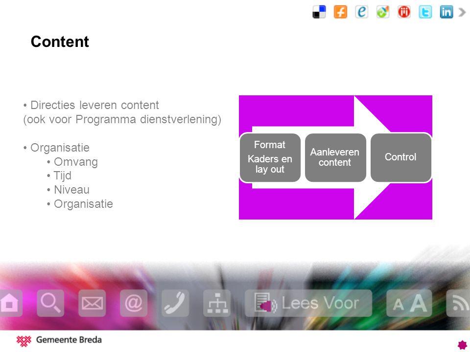 Content Format Kaders en lay out Aanleveren content Control Directies leveren content (ook voor Programma dienstverlening) Organisatie Omvang Tijd Niveau Organisatie