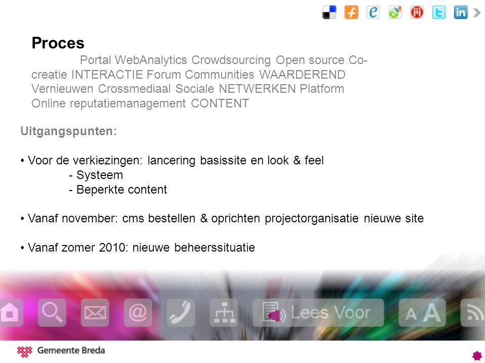 Proces Portal WebAnalytics Crowdsourcing Open source Co- creatie INTERACTIE Forum Communities WAARDEREND Vernieuwen Crossmediaal Sociale NETWERKEN Pla