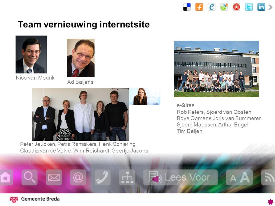 Team vernieuwing internetsite Peter Jeucken, Petra Ramakers, Henk Schiering, Claudia van de Velde, Wim Reichardt, Geertje Jacobs e-Sites Rob Peters, S