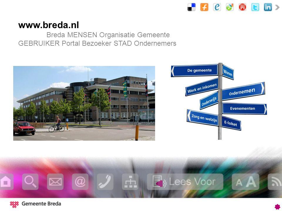www.breda.nl Breda MENSEN Organisatie Gemeente GEBRUIKER Portal Bezoeker STAD Ondernemers