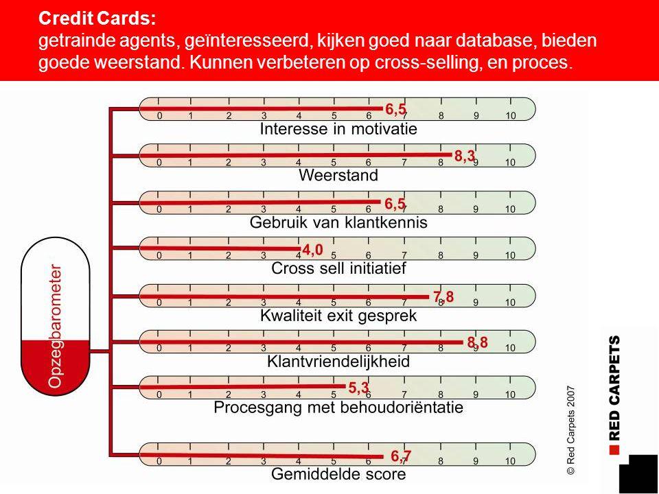 12 Credit Cards: getrainde agents, geïnteresseerd, kijken goed naar database, bieden goede weerstand. Kunnen verbeteren op cross-selling, en proces.