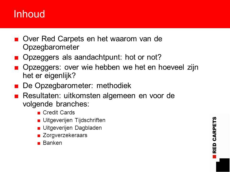 2 Inhoud ■Over Red Carpets en het waarom van de Opzegbarometer ■Opzeggers als aandachtpunt: hot or not? ■Opzeggers: over wie hebben we het en hoeveel