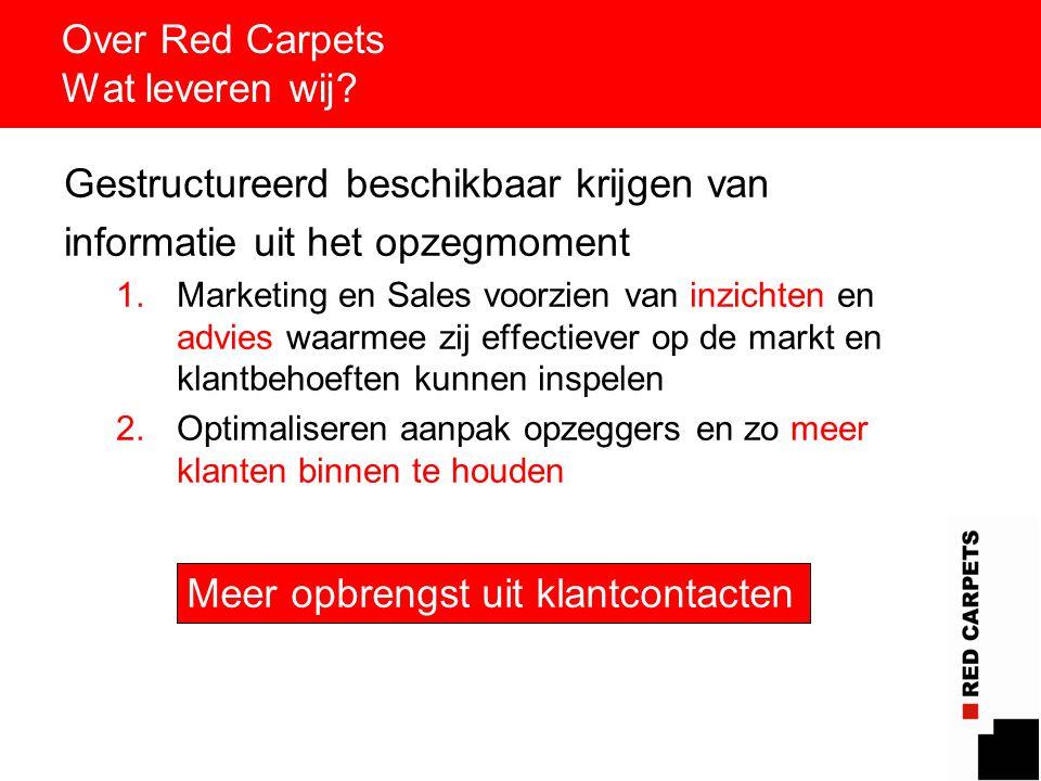 3 Over Red Carpets Wat leveren wij? Gestructureerd beschikbaar krijgen van informatie uit het opzegmoment 1.Marketing en Sales voorzien van inzichten