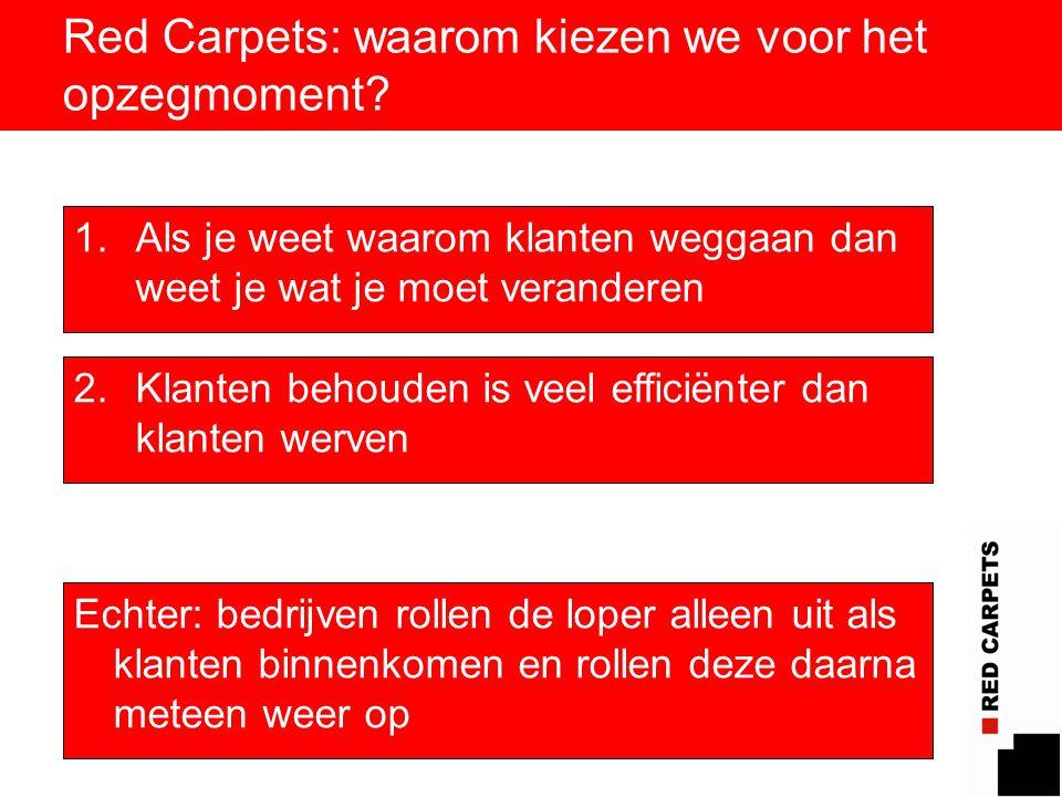 4 Red Carpets: waarom kiezen we voor het opzegmoment? 1.Als je weet waarom klanten weggaan dan weet je wat je moet veranderen 2.Klanten behouden is ve