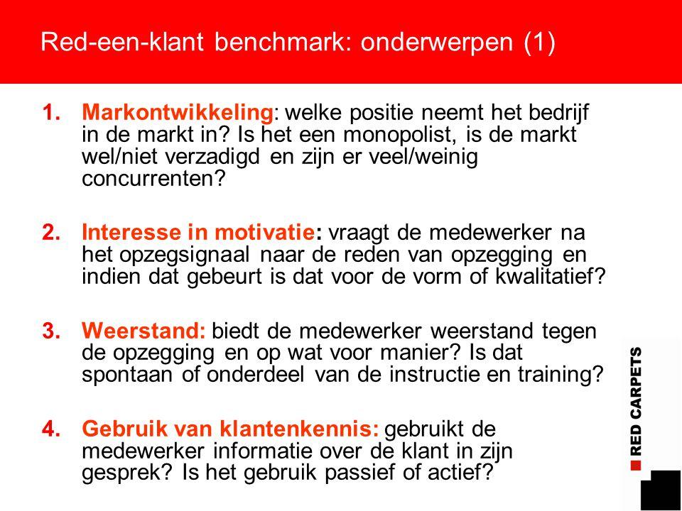 9 Red-een-klant benchmark: onderwerpen (1) 1.Markontwikkeling: welke positie neemt het bedrijf in de markt in? Is het een monopolist, is de markt wel/
