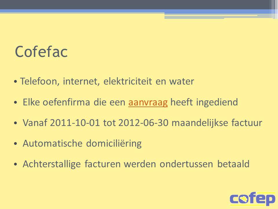 Cofefac Telefoon, internet, elektriciteit en water Elke oefenfirma die een aanvraag heeft ingediendaanvraag Vanaf 2011-10-01 tot 2012-06-30 maandelijkse factuur Automatische domiciliëring Achterstallige facturen werden ondertussen betaald