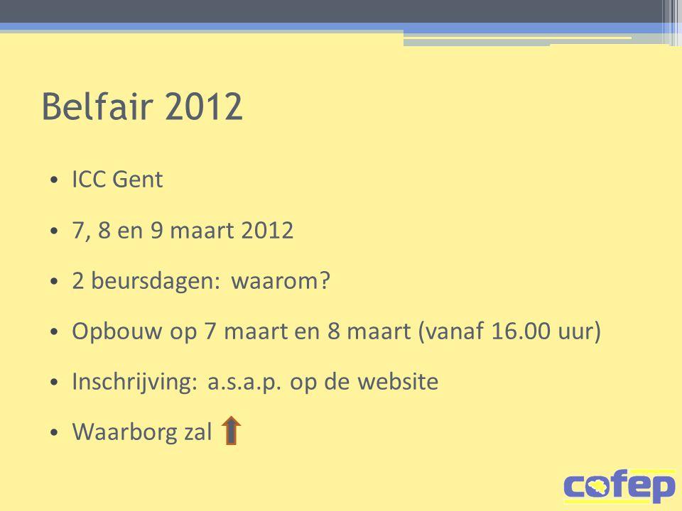 Belfair 2012 ICC Gent 7, 8 en 9 maart 2012 2 beursdagen: waarom.