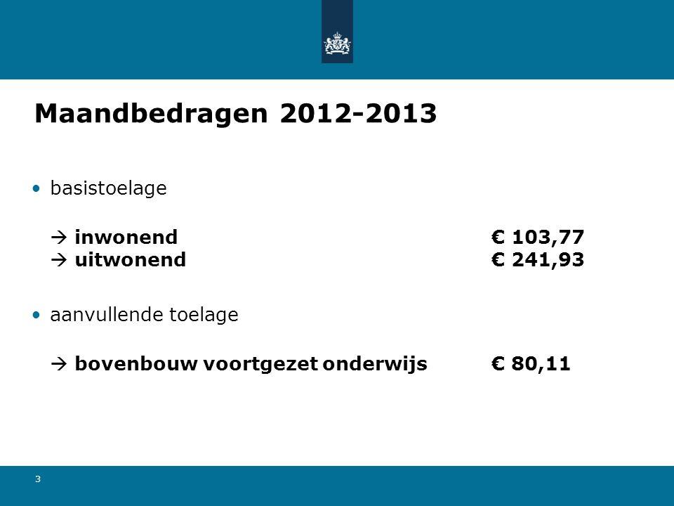 3 Maandbedragen 2012-2013 basistoelage  inwonend€ 103,77  uitwonend€ 241,93 aanvullende toelage  bovenbouw voortgezet onderwijs€ 80,11