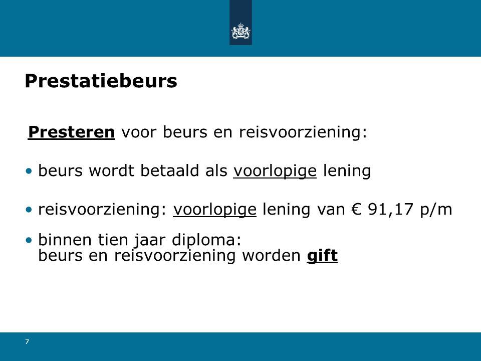 7 Prestatiebeurs Presteren voor beurs en reisvoorziening: beurs wordt betaald als voorlopige lening reisvoorziening: voorlopige lening van € 91,17 p/m