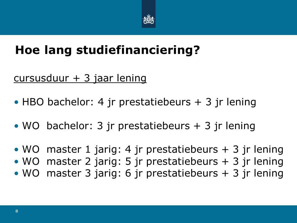 8 Hoe lang studiefinanciering? cursusduur + 3 jaar lening HBO bachelor: 4 jr prestatiebeurs + 3 jr lening WO bachelor: 3 jr prestatiebeurs + 3 jr leni