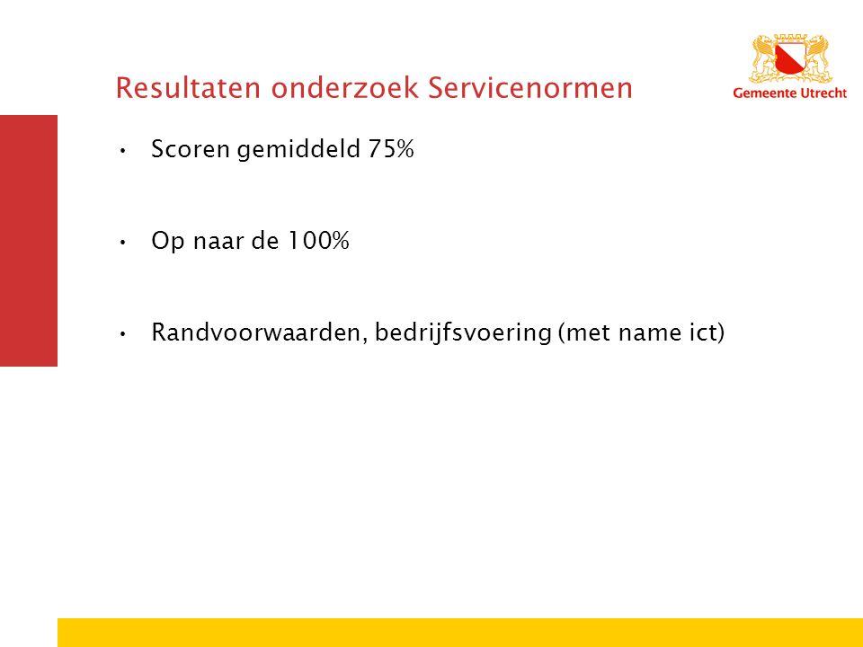 Resultaten onderzoek Servicenormen Scoren gemiddeld 75% Op naar de 100% Randvoorwaarden, bedrijfsvoering (met name ict)