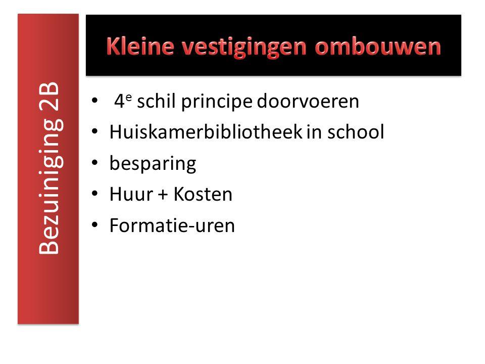4 e schil principe doorvoeren Huiskamerbibliotheek in school besparing Huur + Kosten Formatie-uren Bezuiniging 2B