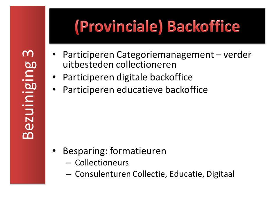 Participeren Categoriemanagement – verder uitbesteden collectioneren Participeren digitale backoffice Participeren educatieve backoffice Besparing: fo