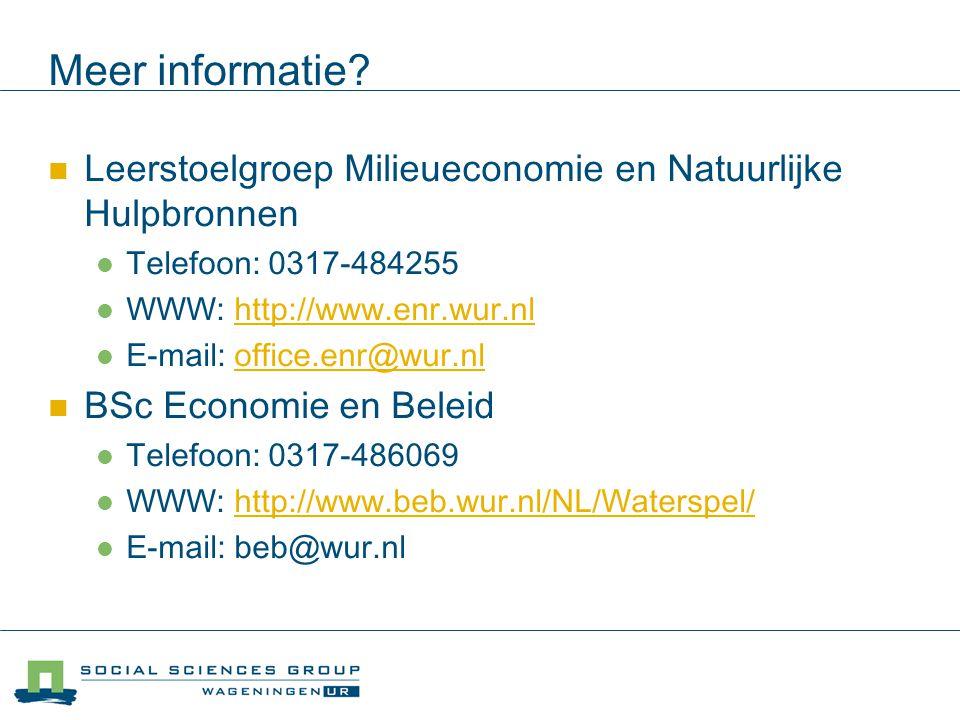 Meer informatie? Leerstoelgroep Milieueconomie en Natuurlijke Hulpbronnen Telefoon: 0317-484255 WWW: http://www.enr.wur.nlhttp://www.enr.wur.nl E-mail