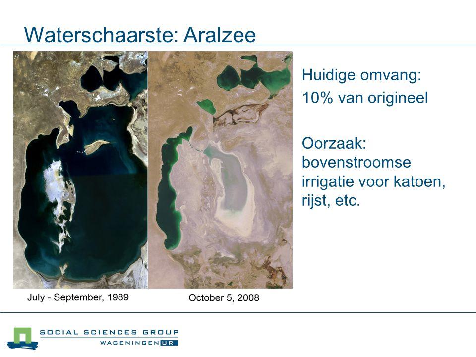Waterschaarste: Aralzee Huidige omvang: 10% van origineel Oorzaak: bovenstroomse irrigatie voor katoen, rijst, etc.