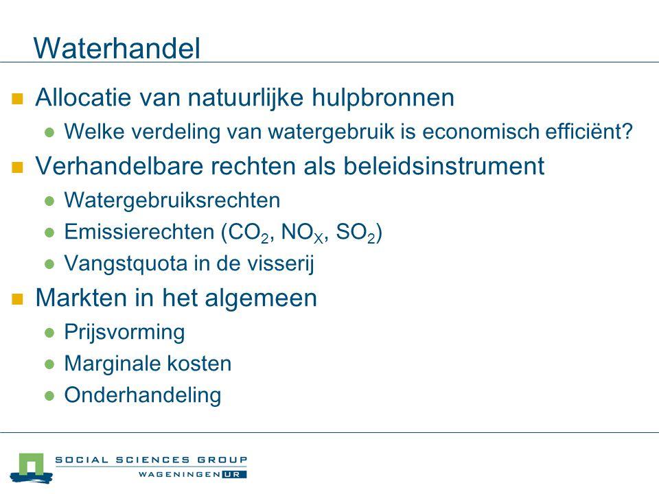 Allocatie van natuurlijke hulpbronnen Welke verdeling van watergebruik is economisch efficiënt? Verhandelbare rechten als beleidsinstrument Watergebru