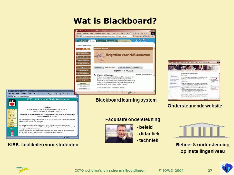 © IOWO 2004ICTO schema s en schermafbeeldingen27 Wat is Blackboard.