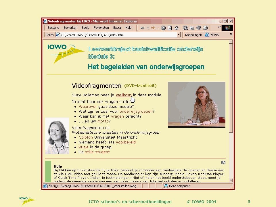 © IOWO 2004ICTO schema s en schermafbeeldingen26 3 perspectieven docenten studenten KUN