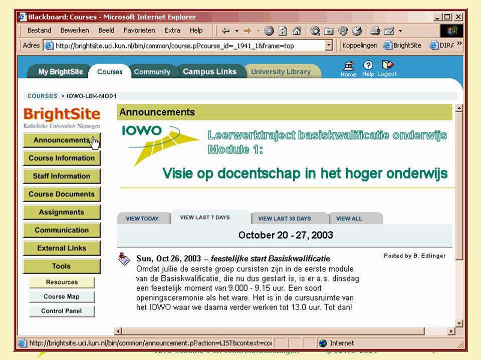 © IOWO 2004ICTO schema s en schermafbeeldingen38 Radboud University Nijmegen About SPINE Titus Brandsma Institute UCI IOWO SURF UNISA St.