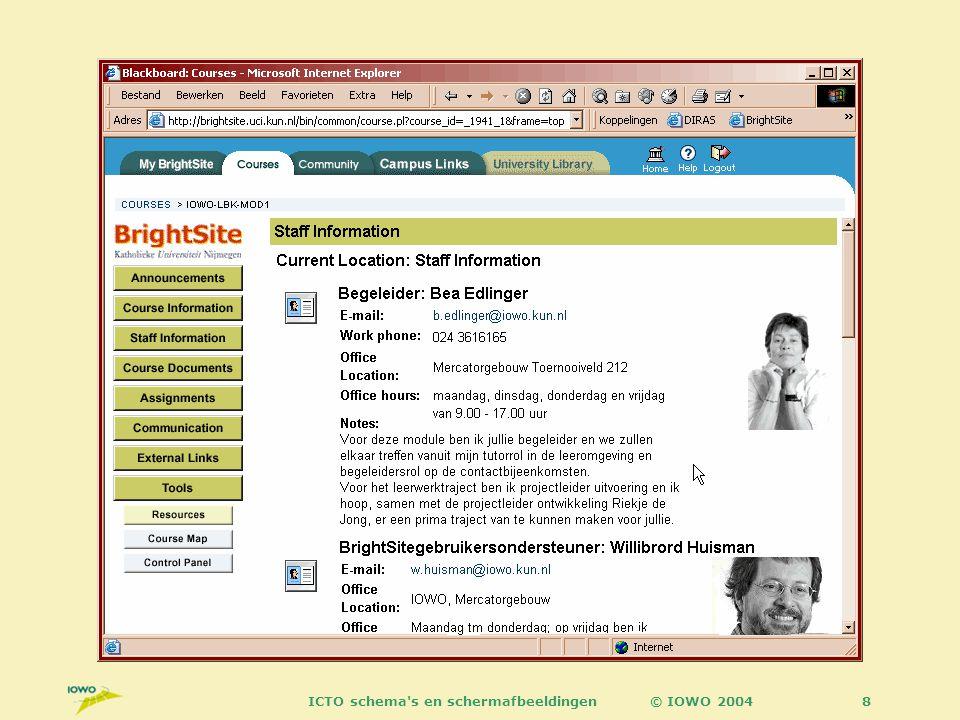 © IOWO 2004ICTO schema s en schermafbeeldingen29 Bij Blackboard beginnen !.