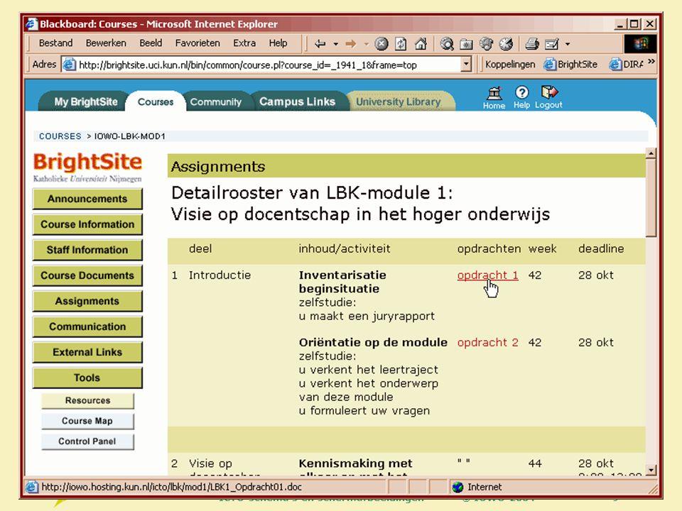 © IOWO 2004ICTO schema s en schermafbeeldingen60 Format choices, 2 When use web pages.