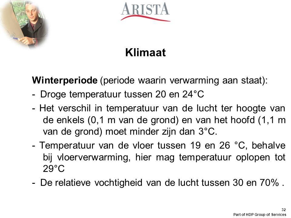 32 Part of HDP Group of Services Klimaat Winterperiode (periode waarin verwarming aan staat): - Droge temperatuur tussen 20 en 24°C - Het verschil in