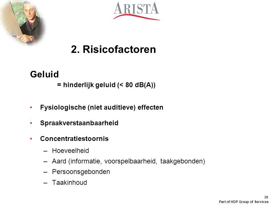 38 Part of HDP Group of Services Geluid = hinderlijk geluid (< 80 dB(A)) Fysiologische (niet auditieve) effecten Spraakverstaanbaarheid Concentratiest