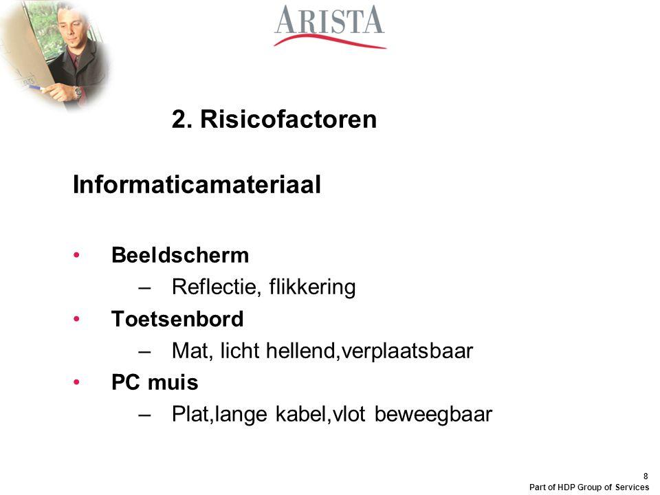 8 Part of HDP Group of Services 2. Risicofactoren Informaticamateriaal Beeldscherm –Reflectie, flikkering Toetsenbord –Mat, licht hellend,verplaatsbaa