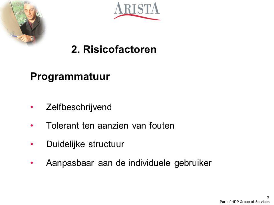 9 Part of HDP Group of Services 2. Risicofactoren Programmatuur Zelfbeschrijvend Tolerant ten aanzien van fouten Duidelijke structuur Aanpasbaar aan d
