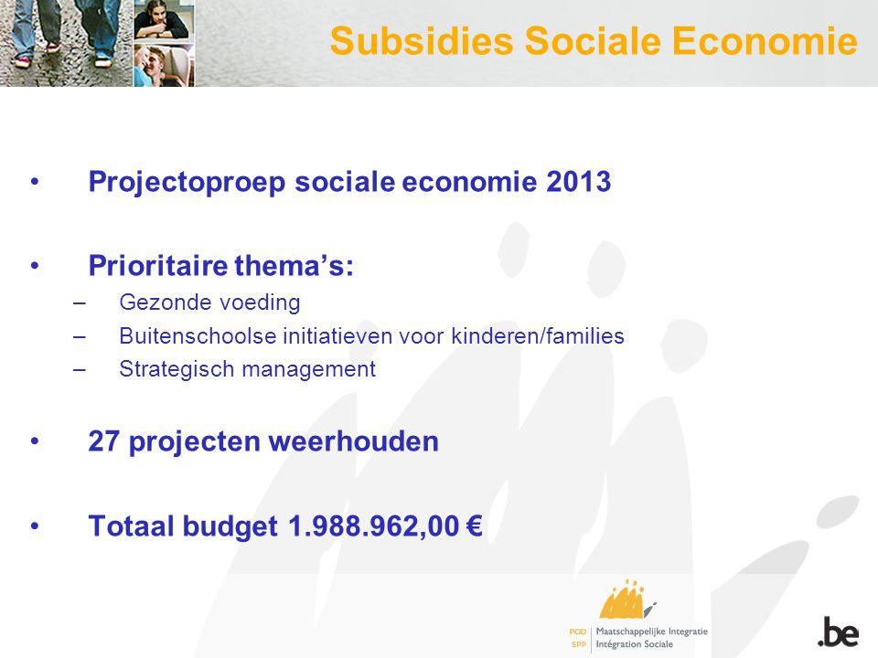 Subsidies Sociale Economie Projectoproep sociale economie 2013 Prioritaire thema's: –Gezonde voeding –Buitenschoolse initiatieven voor kinderen/families –Strategisch management 27 projecten weerhouden Totaal budget 1.988.962,00 €
