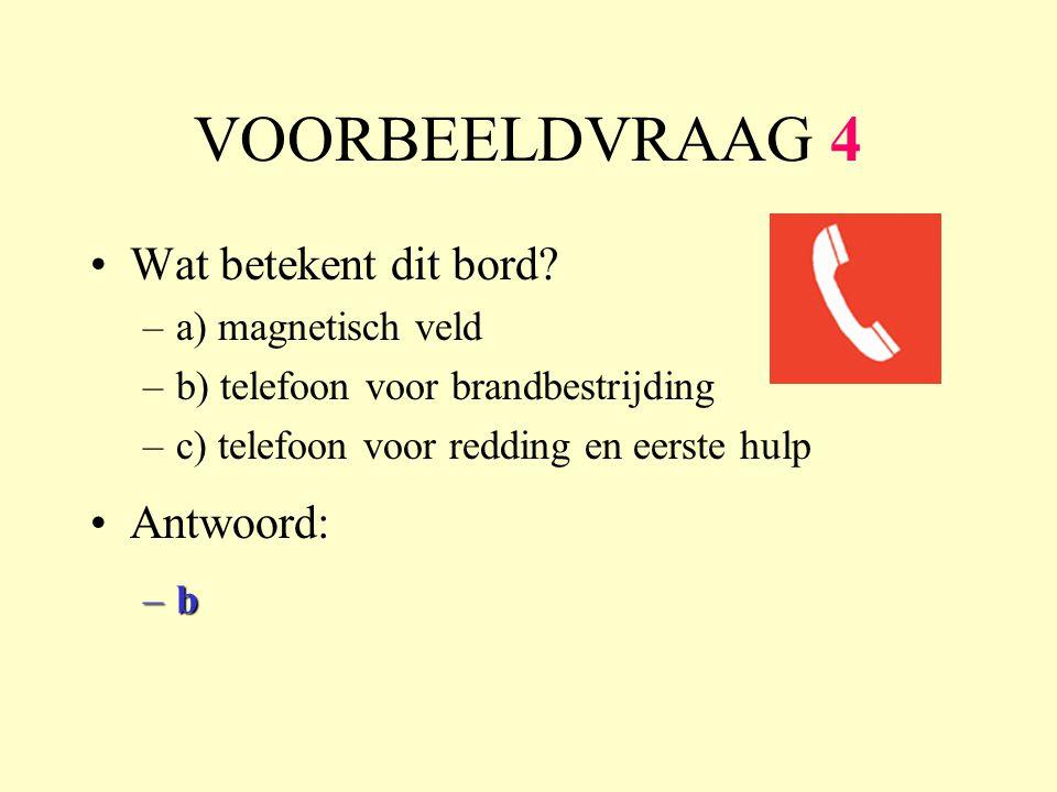 VOORBEELDVRAAG 4 Wat betekent dit bord? –a) magnetisch veld –b) telefoon voor brandbestrijding –c) telefoon voor redding en eerste hulp Antwoord: –b–b
