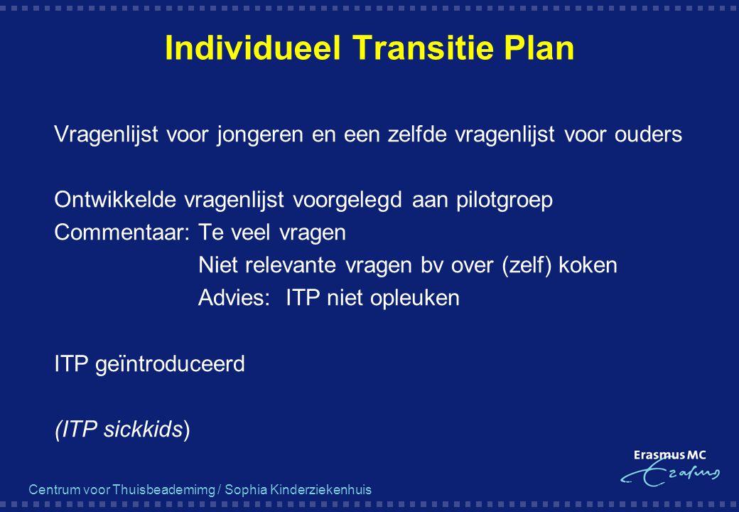 Centrum voor Thuisbeademimg / Sophia Kinderziekenhuis Individueel Transitie Plan  Vragenlijst voor jongeren en een zelfde vragenlijst voor ouders  O