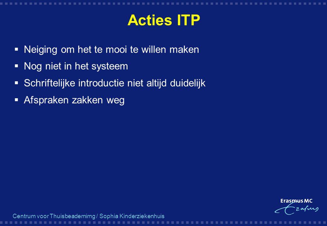 Centrum voor Thuisbeademimg / Sophia Kinderziekenhuis Acties ITP  Neiging om het te mooi te willen maken  Nog niet in het systeem  Schriftelijke in