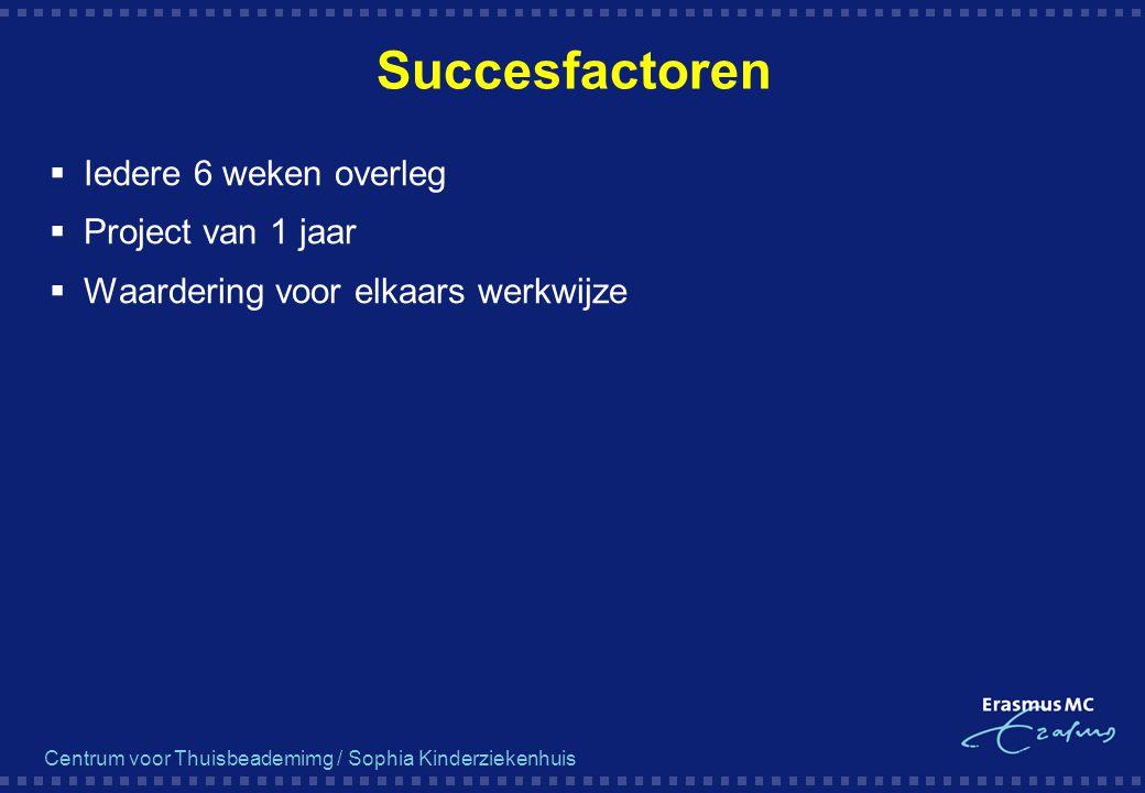 Succesfactoren  Iedere 6 weken overleg  Project van 1 jaar  Waardering voor elkaars werkwijze
