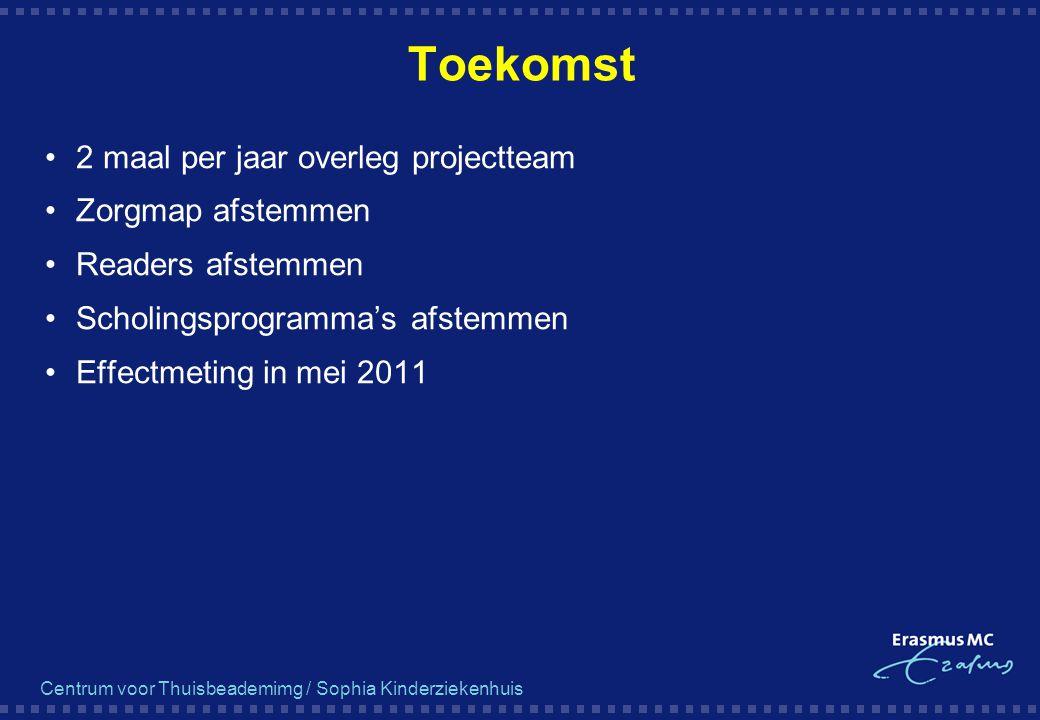 Centrum voor Thuisbeademimg / Sophia Kinderziekenhuis Toekomst 2 maal per jaar overleg projectteam Zorgmap afstemmen Readers afstemmen Scholingsprogra