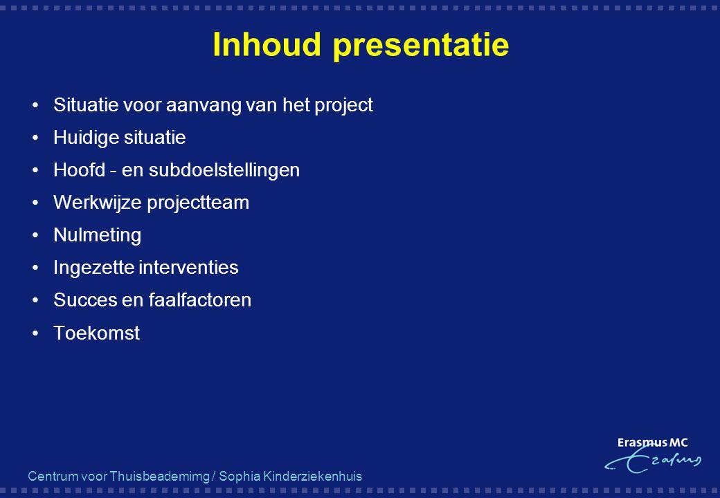 Centrum voor Thuisbeademimg / Sophia Kinderziekenhuis Inhoud presentatie Situatie voor aanvang van het project Huidige situatie Hoofd - en subdoelstel