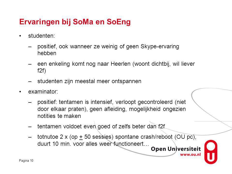 Pagina 10 studenten: –positief, ook wanneer ze weinig of geen Skype-ervaring hebben –een enkeling komt nog naar Heerlen (woont dichtbij, wil liever f2f) –studenten zijn meestal meer ontspannen examinator: –positief: tentamen is intensief, verloopt gecontroleerd (niet door elkaar praten), geen afleiding, mogelijkheid ongezien notities te maken –tentamen voldoet even goed of zelfs beter dan f2f –totnutoe 2 x (op + 50 sessies) spontane crash/reboot (OU pc), duurt 10 min.