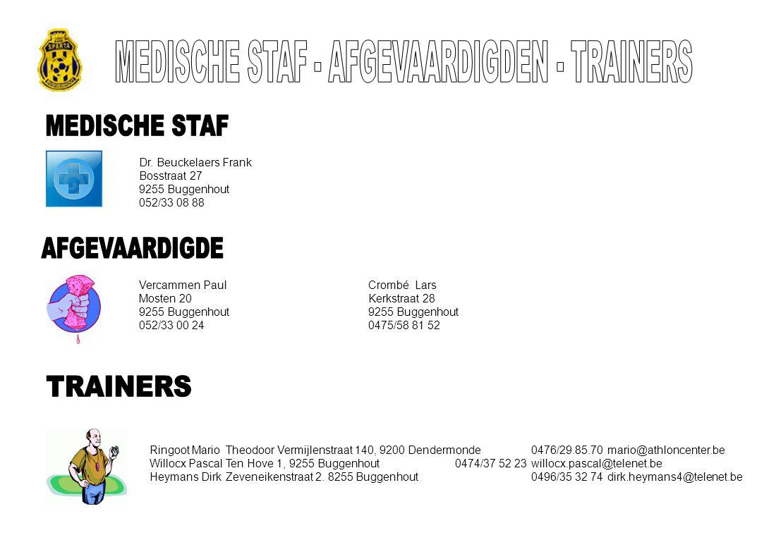 Dr. Beuckelaers Frank Bosstraat 27 9255 Buggenhout 052/33 08 88 Vercammen PaulCrombé Lars Mosten 20 Kerkstraat 289255 Buggenhout 052/33 00 240475/58 8