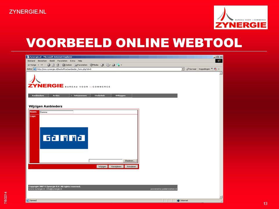 7/8/2014 ZYNERGIE.NL 13 VOORBEELD ONLINE WEBTOOL