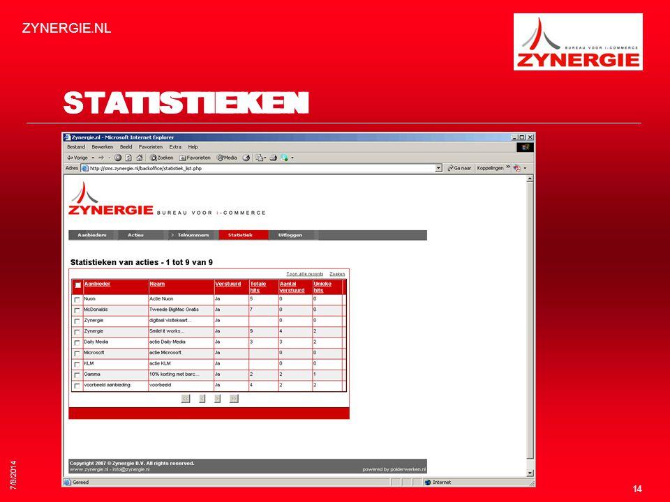 7/8/2014 ZYNERGIE.NL 14 STATISTIEKEN
