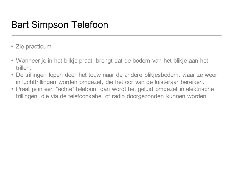 Bart Simpson Telefoon Zie practicum Wanneer je in het blikje praat, brengt dat de bodem van het blikje aan het trillen. De trillingen lopen door het t