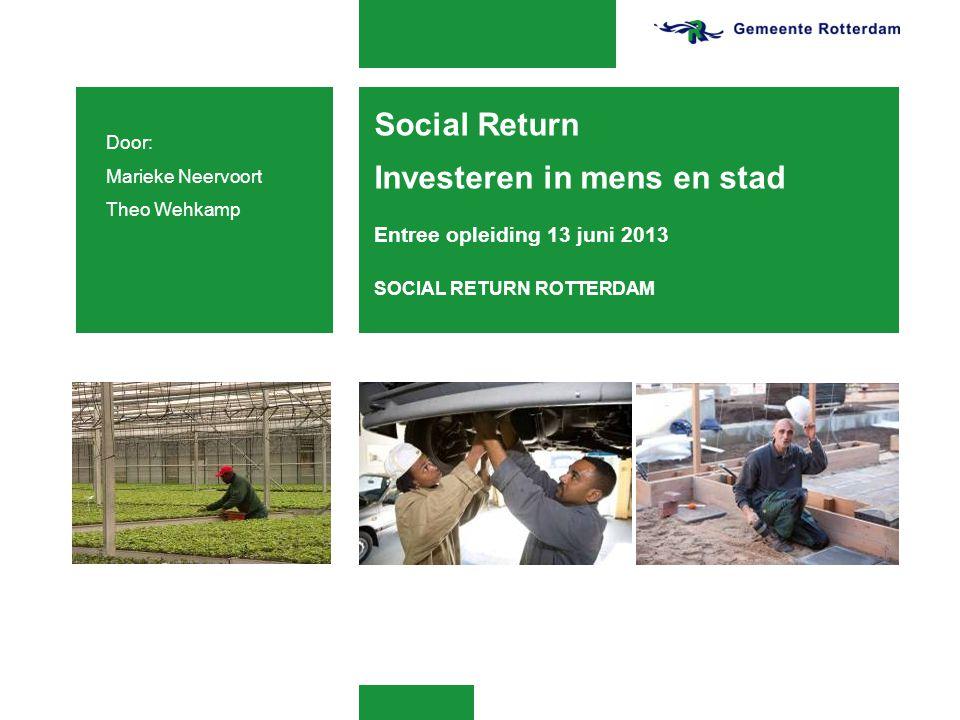 Social Return Investeren in mens en stad Entree opleiding 13 juni 2013 SOCIAL RETURN ROTTERDAM Door: Marieke Neervoort Theo Wehkamp