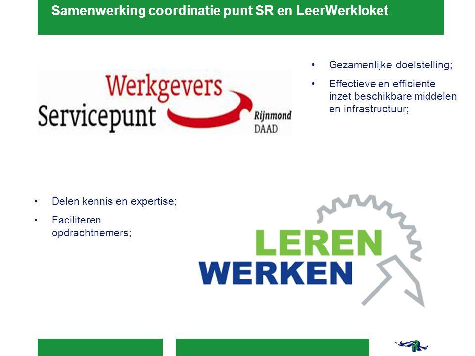 Samenwerking coordinatie punt SR en LeerWerkloket Gezamenlijke doelstelling; Effectieve en efficiente inzet beschikbare middelen en infrastructuur; De