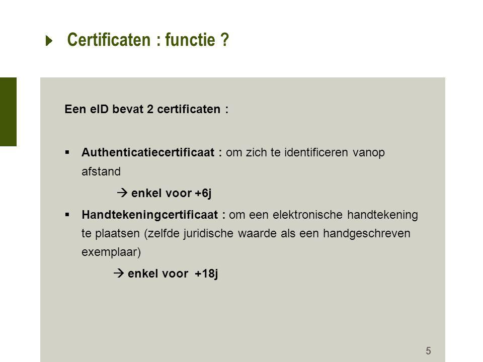 26 Registratie van de certificaten Wanneer je voor de eerste maal de eID gebruikt, moet je de certificaten registreren.
