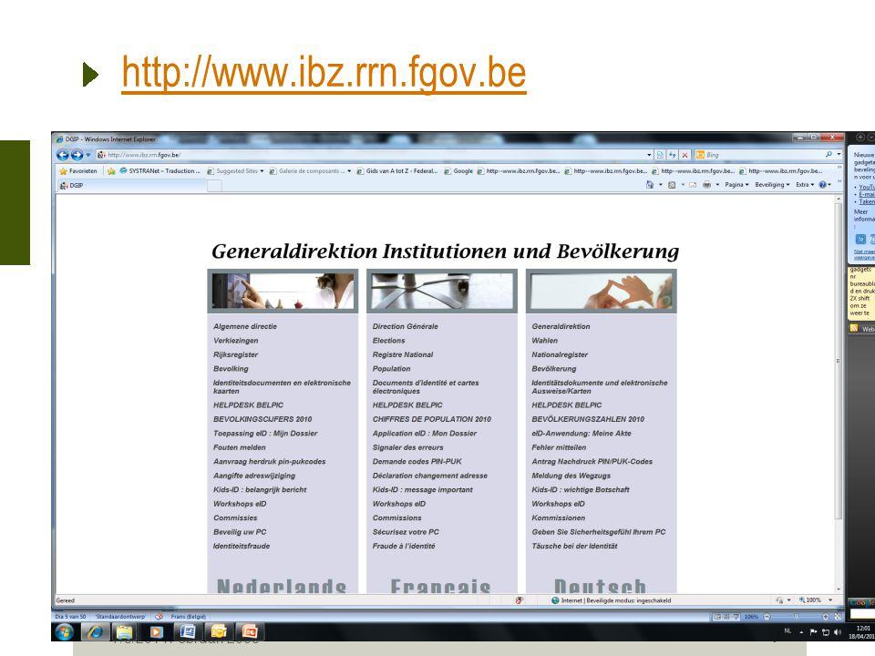 8 Kids-ID De begindatum van de veralgemening van de kids-ID voor alle gemeenten werd vastgelegd op 16/03/2009.