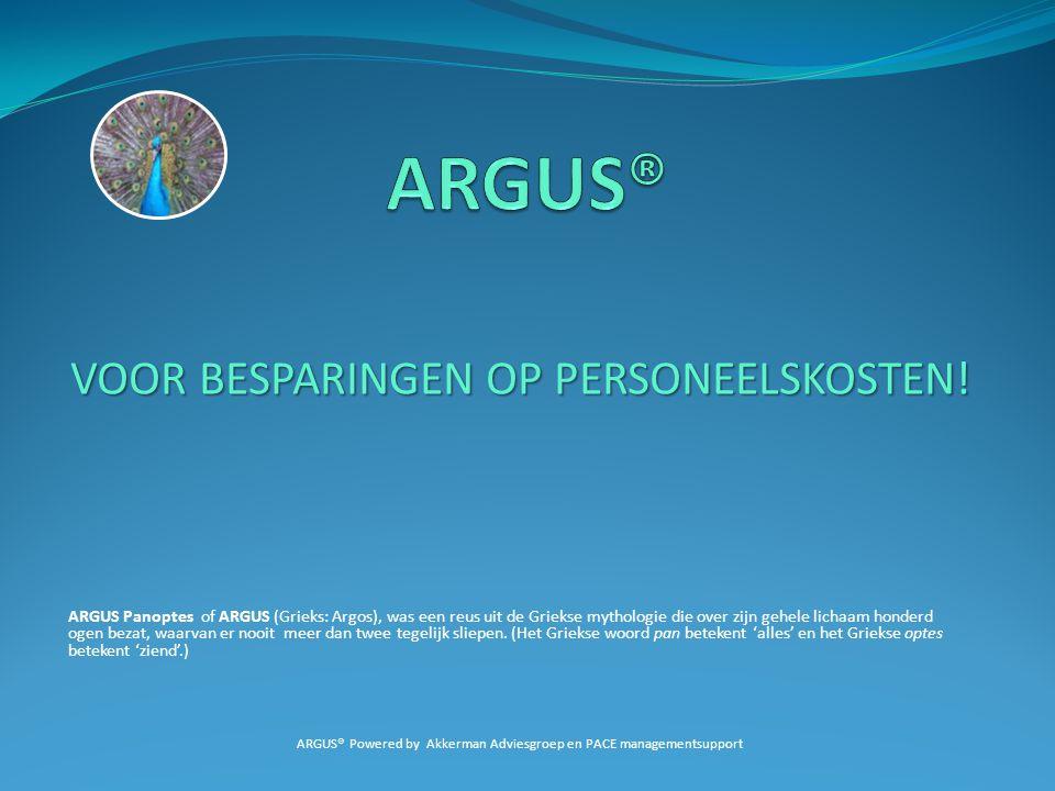 VOOR BESPARINGEN OP PERSONEELSKOSTEN! ARGUS Panoptes of ARGUS (Grieks: Argos), was een reus uit de Griekse mythologie die over zijn gehele lichaam hon