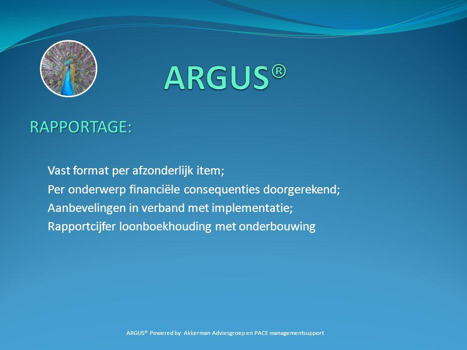 RAPPORTAGE: Vast format per afzonderlijk item; Per onderwerp financiële consequenties doorgerekend; Aanbevelingen in verband met implementatie; Rappor