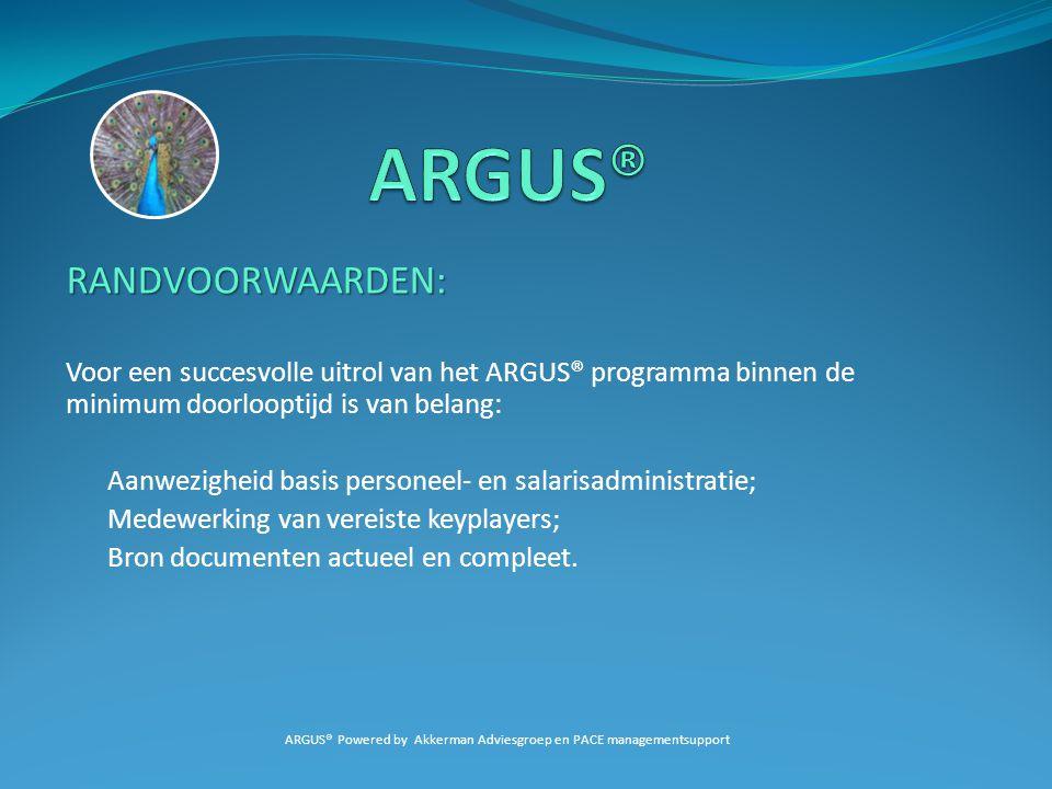 RANDVOORWAARDEN: Voor een succesvolle uitrol van het ARGUS® programma binnen de minimum doorlooptijd is van belang: Aanwezigheid basis personeel- en s