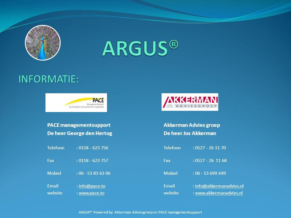 INFORMATIE: PACE managementsupportAkkerman Advies groep De heer George den HertogDe heer Jos Akkerman Telefoon: 0118 - 623 756 Telefoon: 0527 - 26 11
